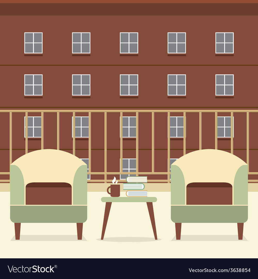 Sofa with books and coffee at balcony vector | Price: 1 Credit (USD $1)