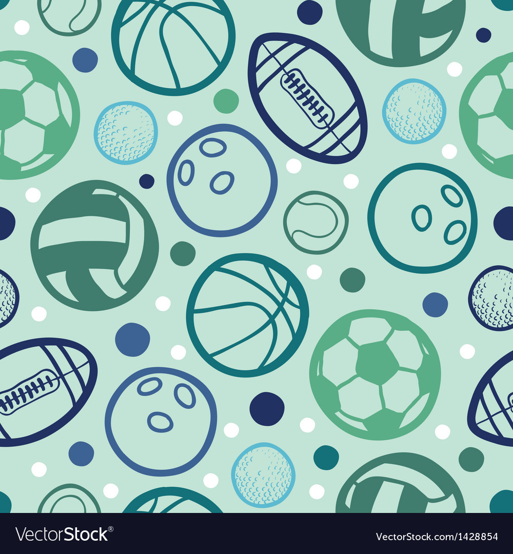 Sports balls seamless patterns backgrounds vector | Price: 1 Credit (USD $1)