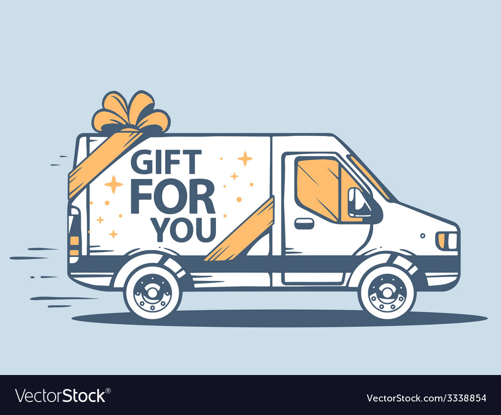 Van free and fast delivering gift for you vector | Price: 1 Credit (USD $1)