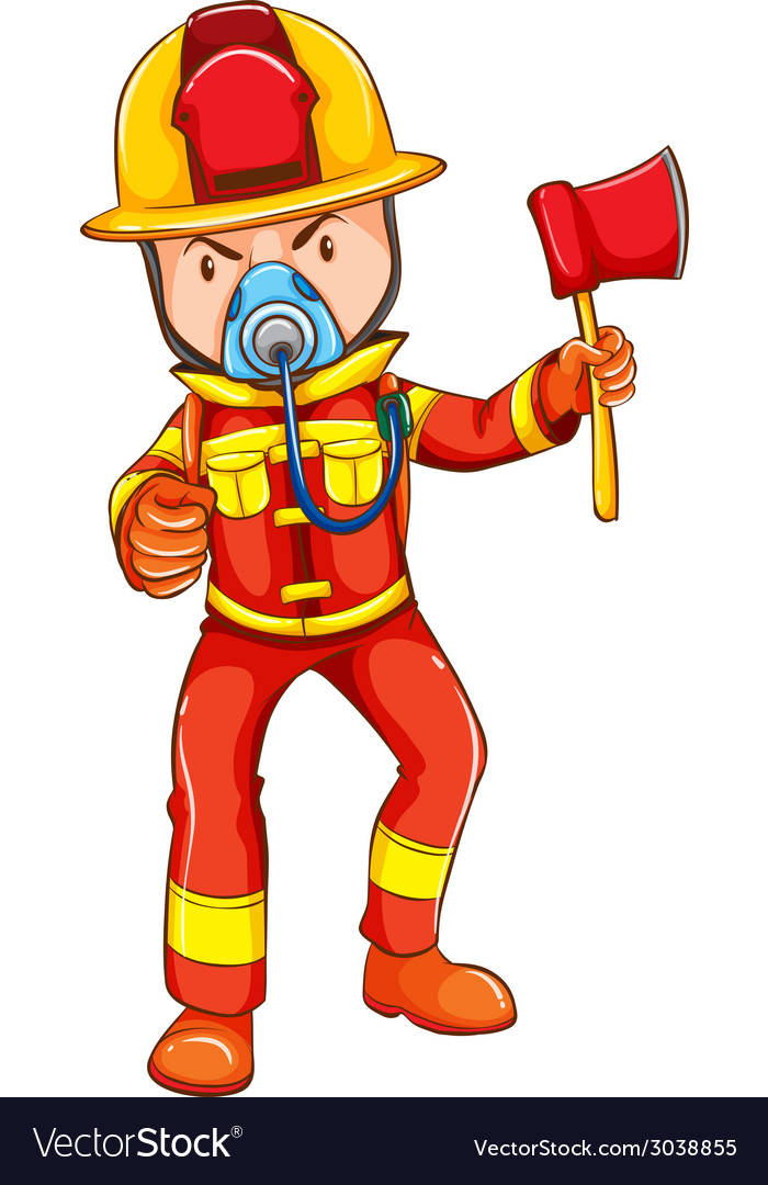 A simple coloured sketch of a fireman vector | Price: 1 Credit (USD $1)