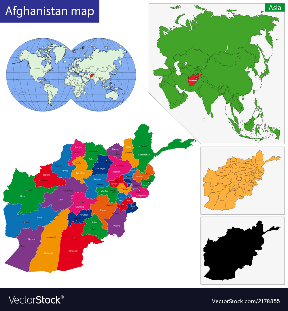 Afghanistan map vector | Price: 1 Credit (USD $1)