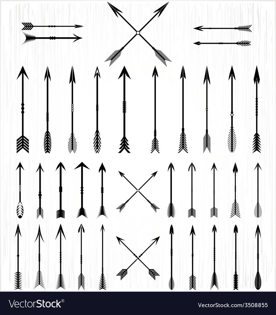 Arrow silhouette set vector | Price: 1 Credit (USD $1)