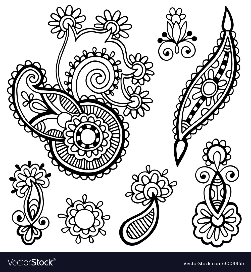 Black line art ornate flower design collection vector | Price: 1 Credit (USD $1)
