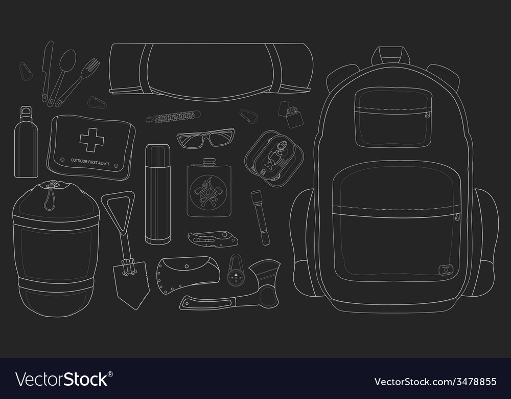Camping set chalkboard vector | Price: 1 Credit (USD $1)