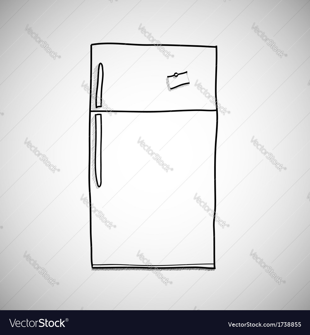 Hand drawn refrigerator skecth style vector | Price: 1 Credit (USD $1)