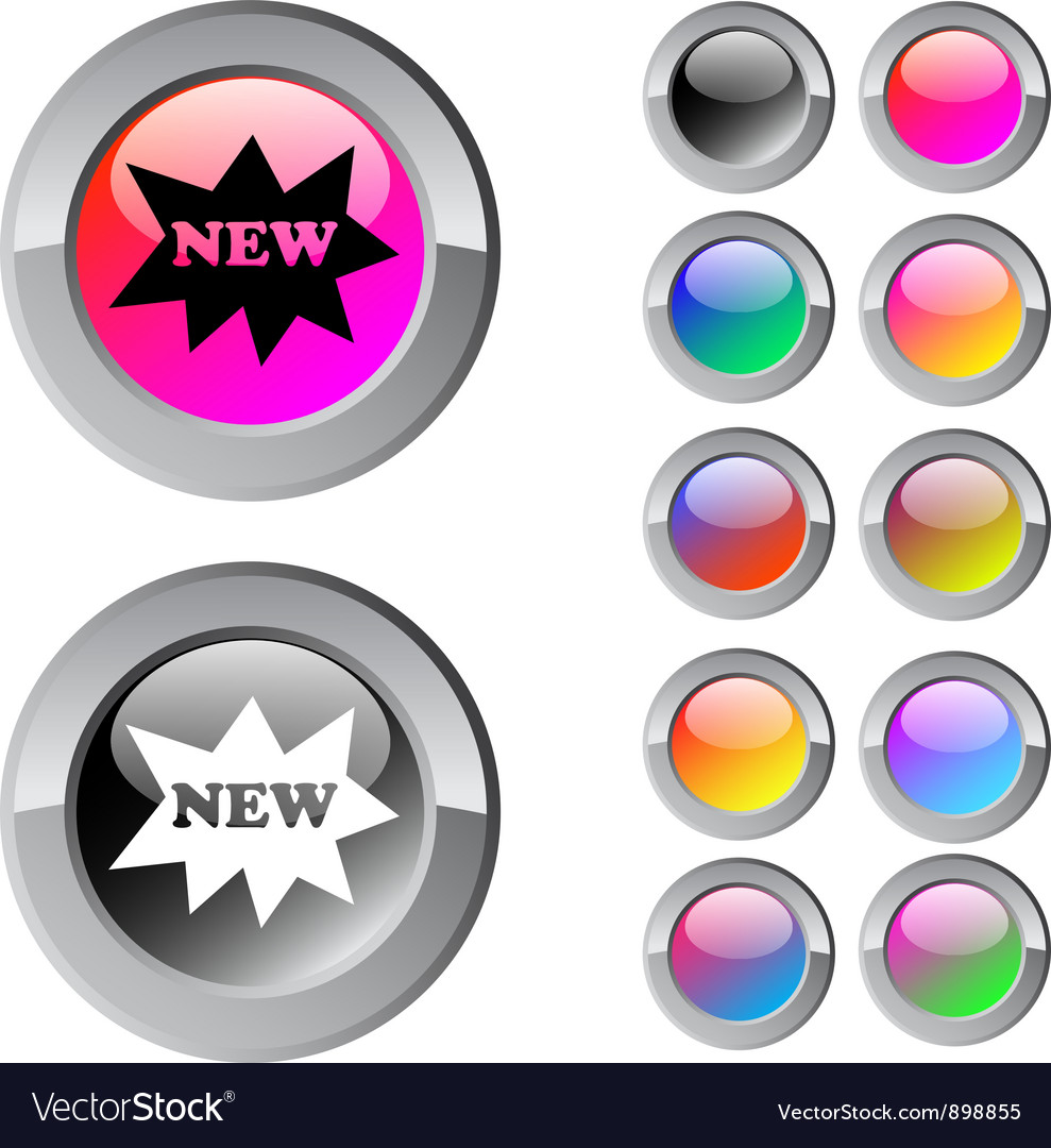 New multicolor round button vector | Price: 1 Credit (USD $1)