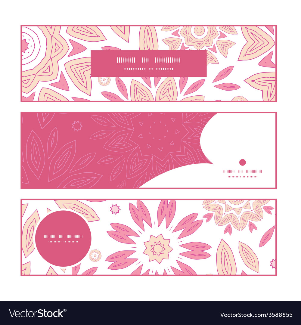 Pink abstract flowers horizontal banners set vector | Price: 1 Credit (USD $1)
