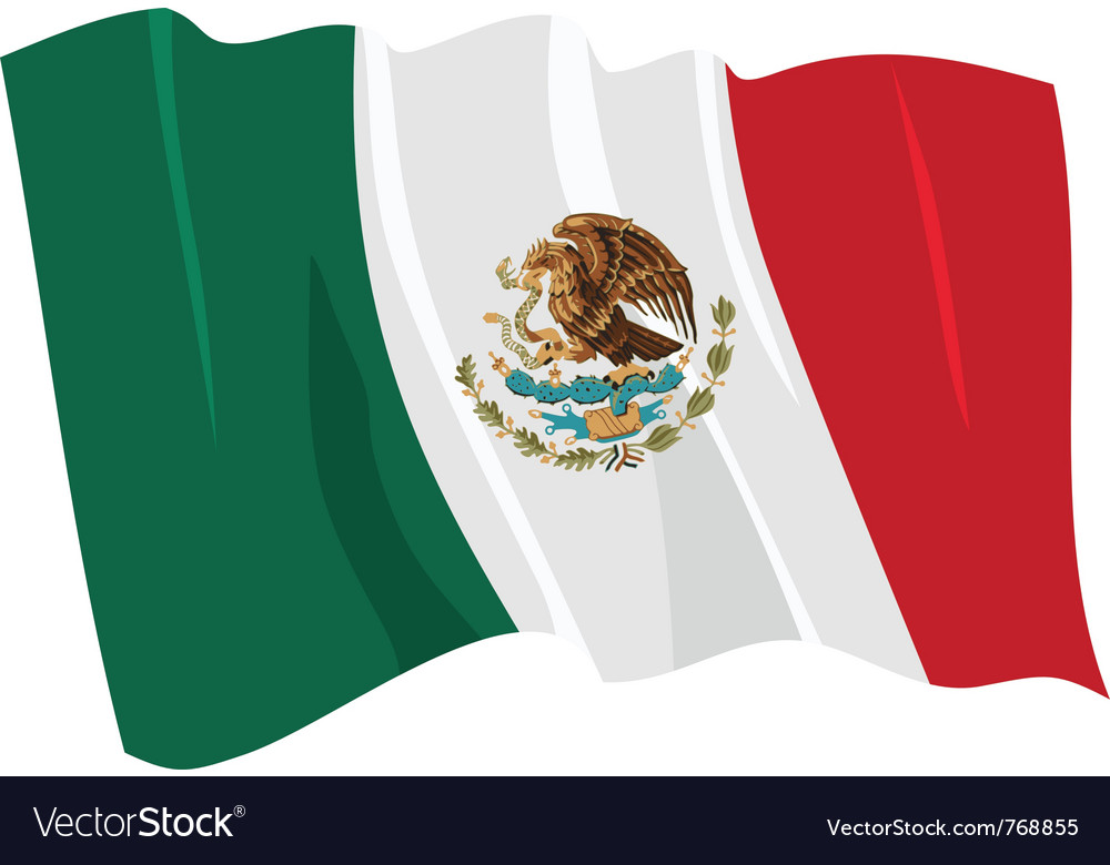 Political waving flag of mexico vector | Price: 1 Credit (USD $1)