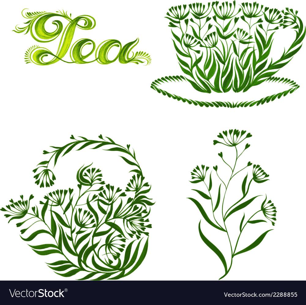 Set of decorative ornament tea vector   Price: 1 Credit (USD $1)