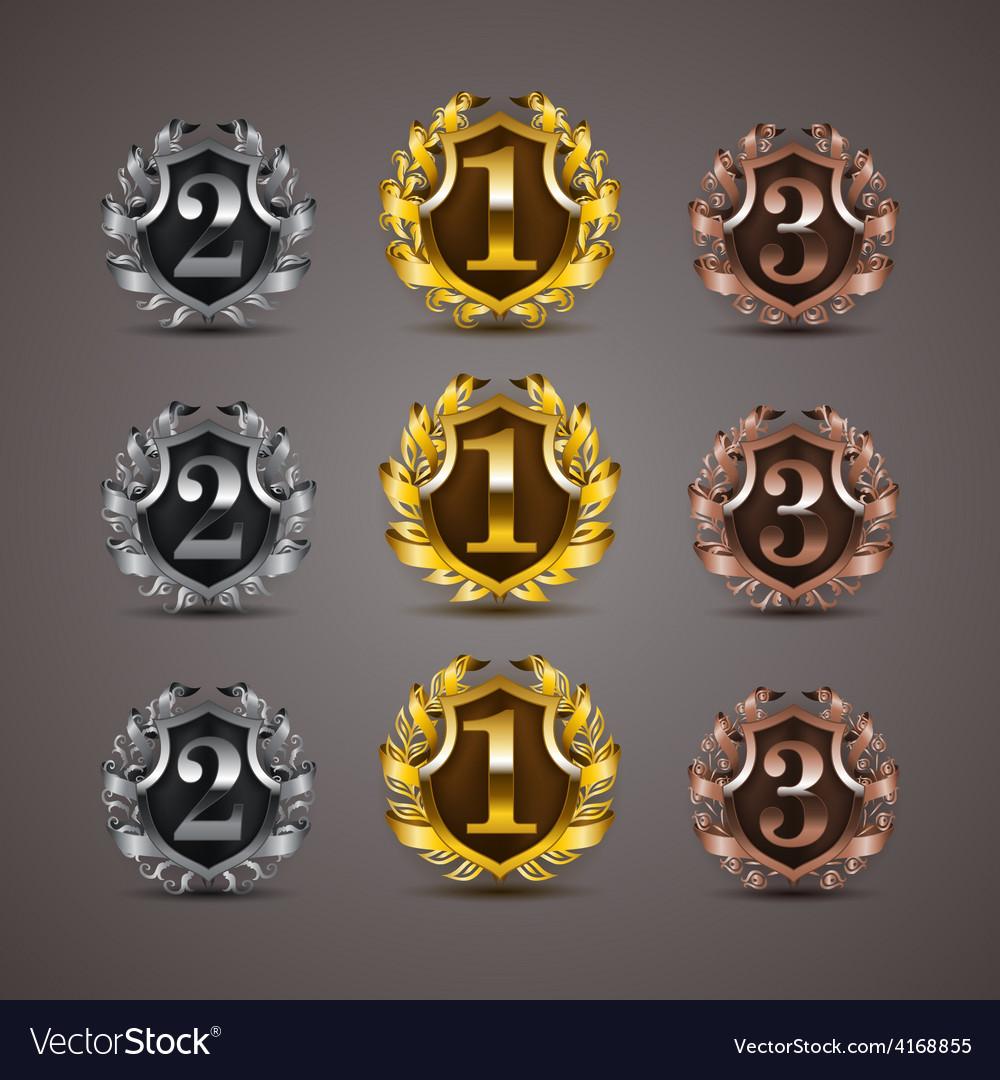 Set of luxury golden shields vector | Price: 3 Credit (USD $3)