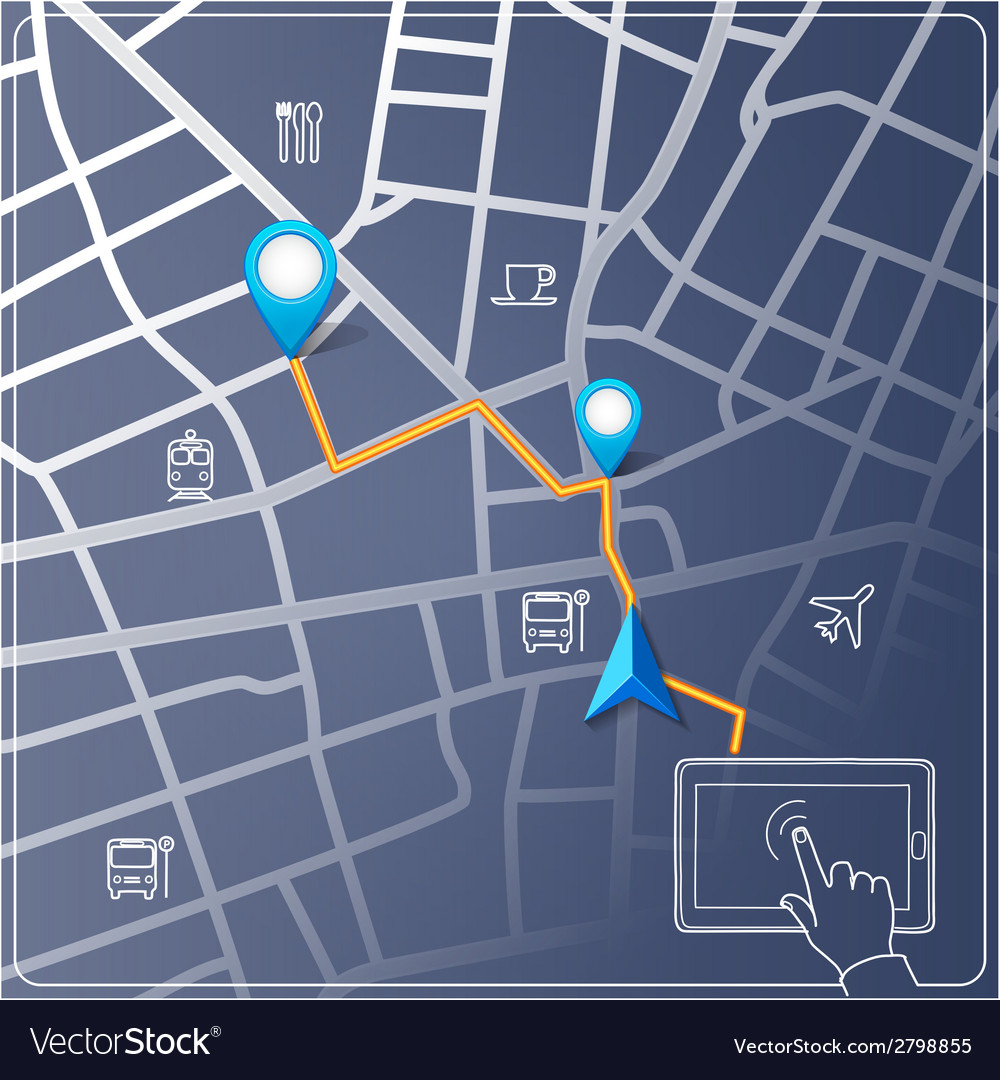 Using tablet for street map navigation vector | Price: 1 Credit (USD $1)