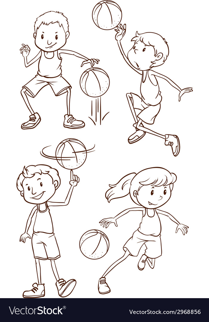 A simple sketch of the people playing basketball vector | Price: 1 Credit (USD $1)