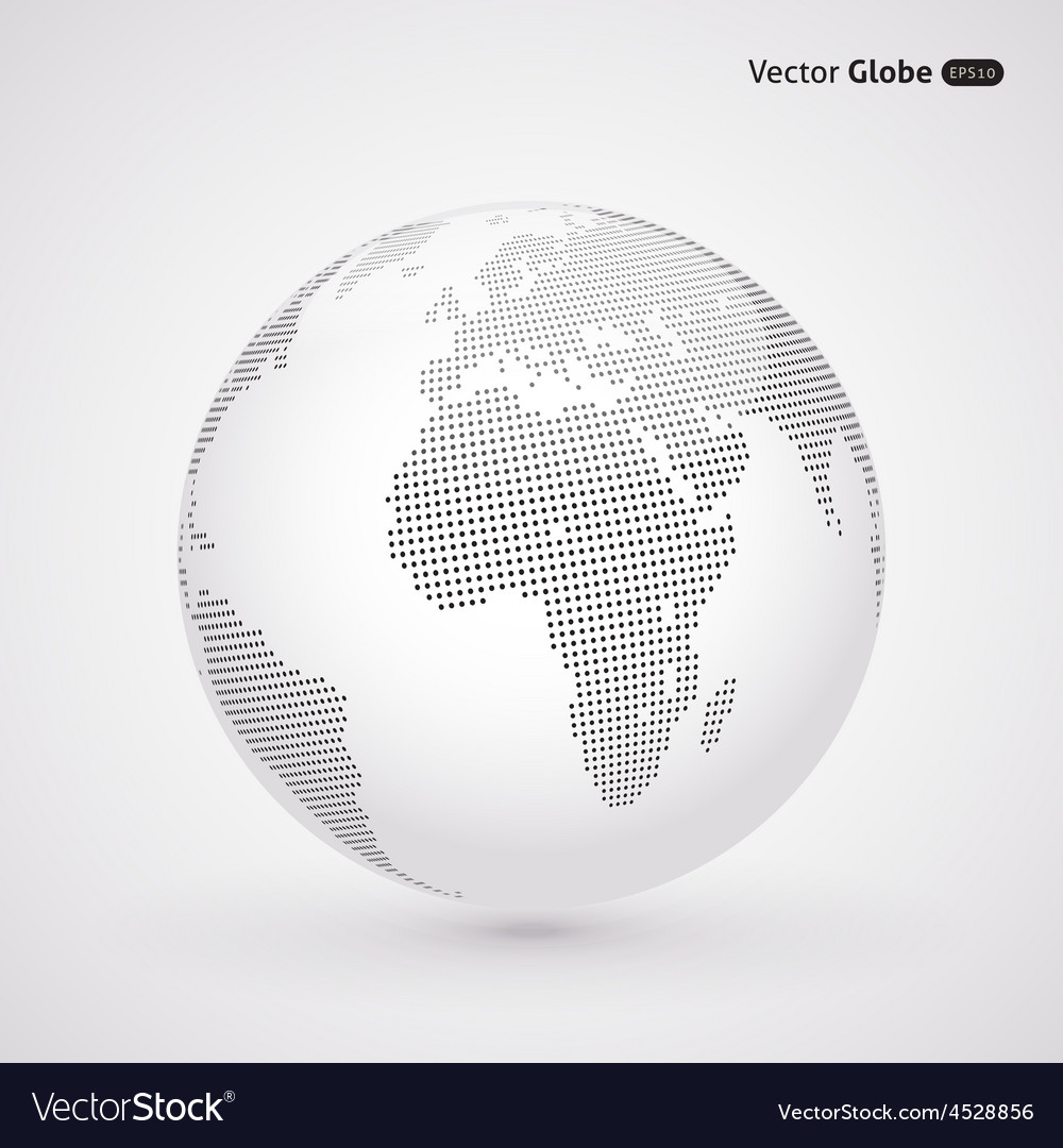 Abstract dotted globe central views of africa vector | Price: 1 Credit (USD $1)