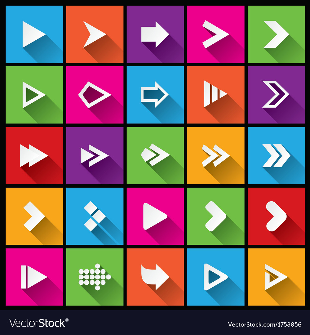 Arrow sign icon set simple square shape buttons vector | Price: 1 Credit (USD $1)