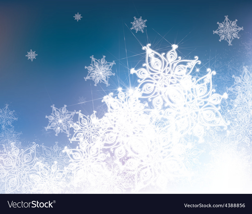 Blue snowflake background vector | Price: 1 Credit (USD $1)