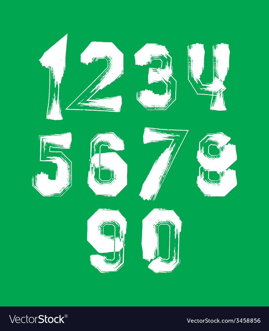 Creative handwritten over color numbers set from 0 vector | Price: 1 Credit (USD $1)