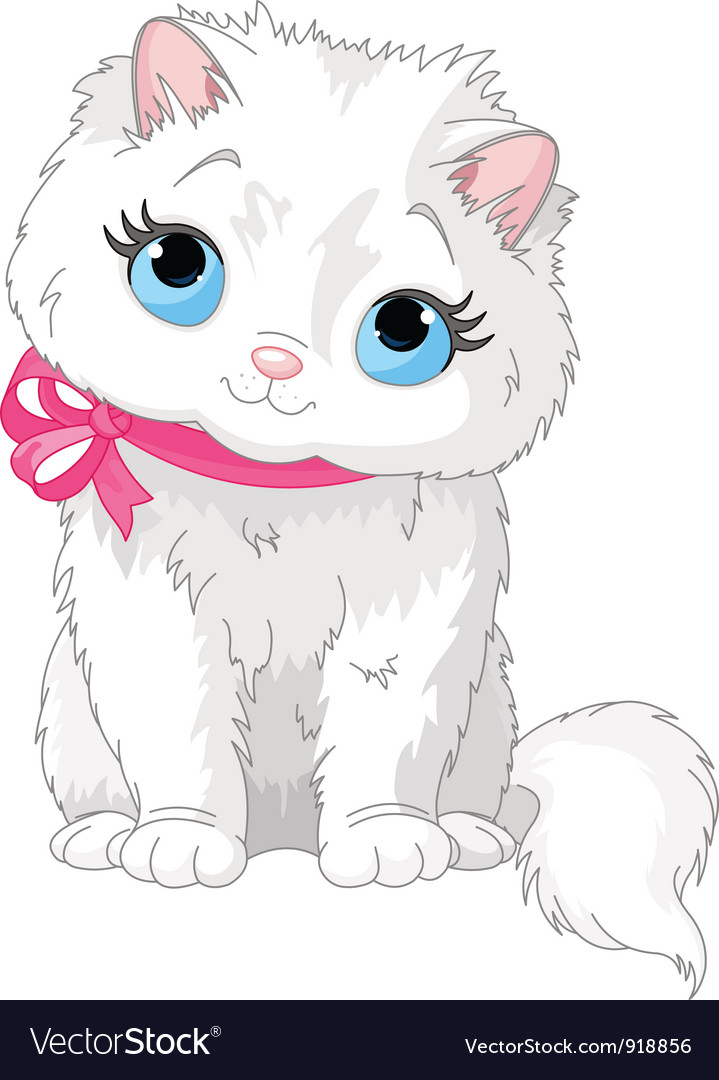 Cute white cat vector | Price: 3 Credit (USD $3)