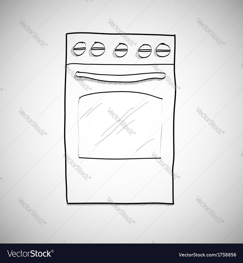 Gas stove - hand drawn sketch vector | Price: 1 Credit (USD $1)