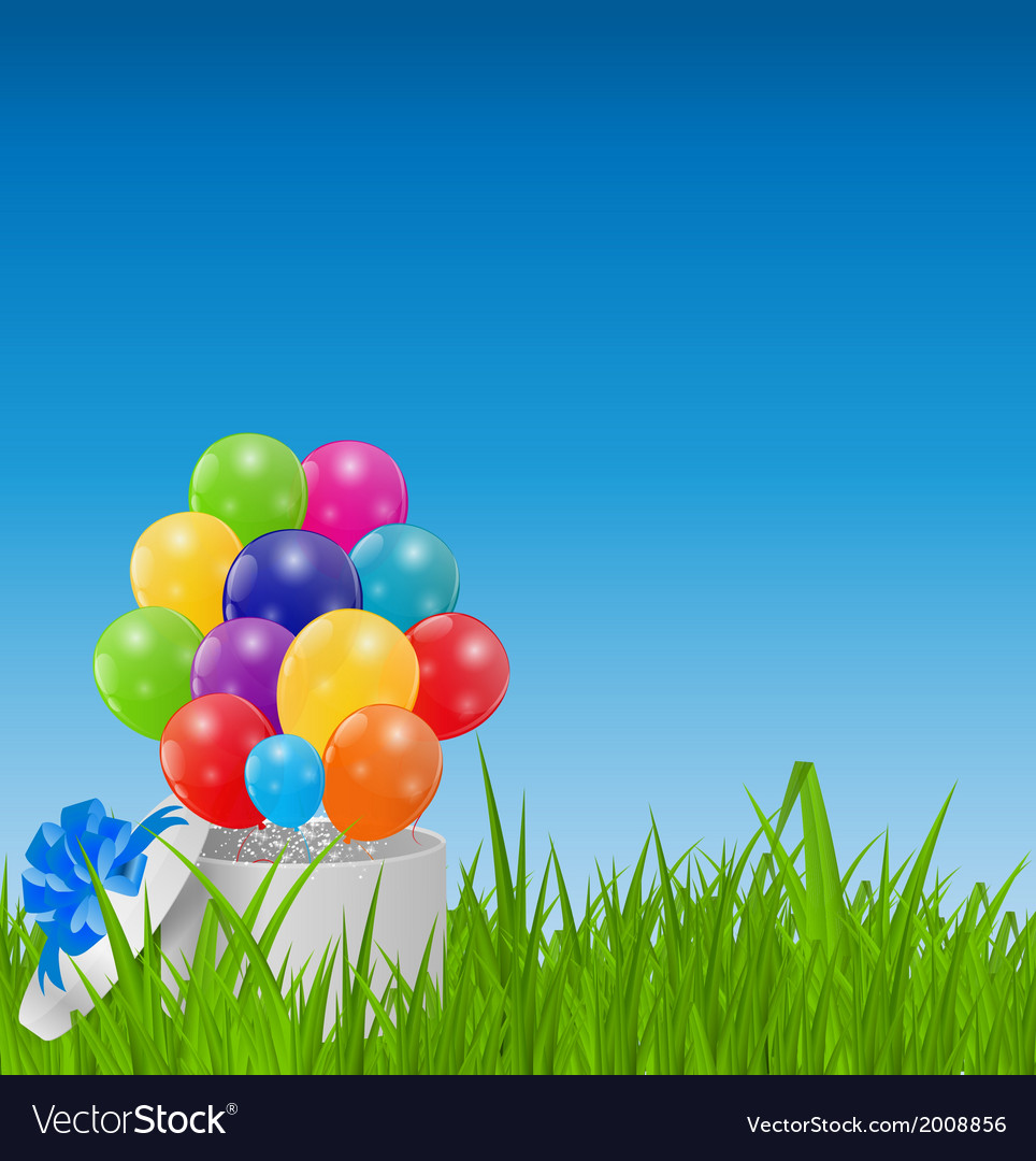 Glossy balloons on drass field vector | Price: 1 Credit (USD $1)