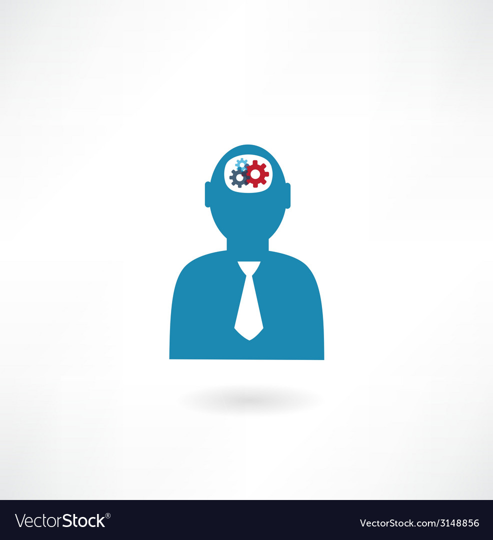 Man with cogs in head icon vector | Price: 1 Credit (USD $1)