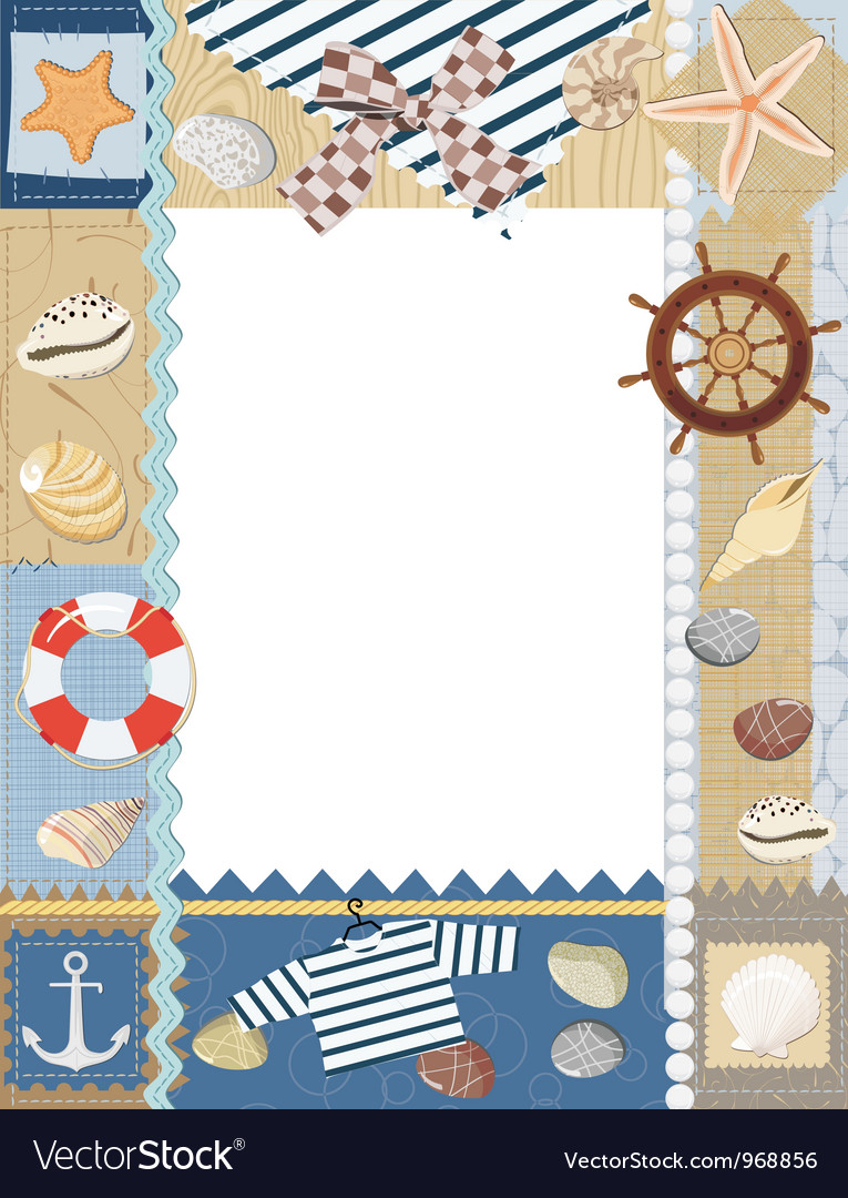 Marine photo frame vector | Price: 1 Credit (USD $1)