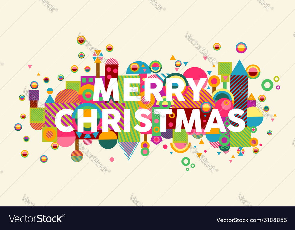 Merry christmas colorful abstract greeting card vector | Price: 1 Credit (USD $1)