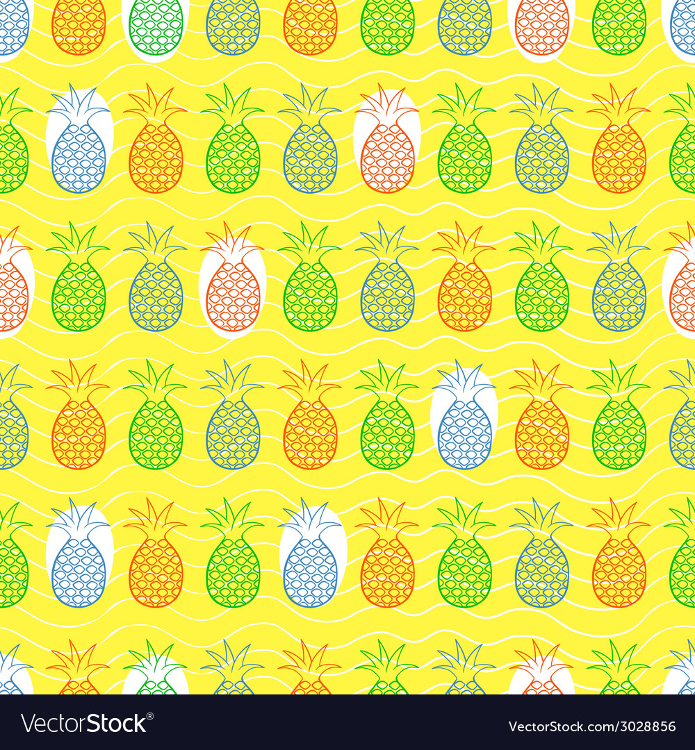 Pineapple seamless pattern vector | Price: 1 Credit (USD $1)