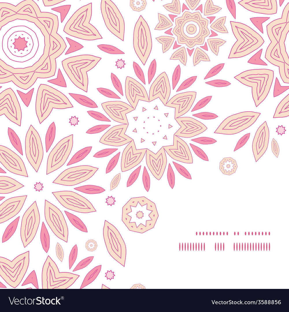 Pink abstract flowers frame corner pattern vector | Price: 1 Credit (USD $1)