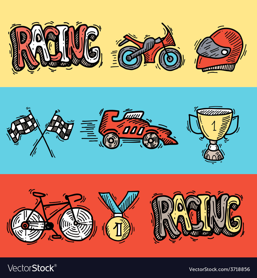 Racing banners set vector | Price: 1 Credit (USD $1)