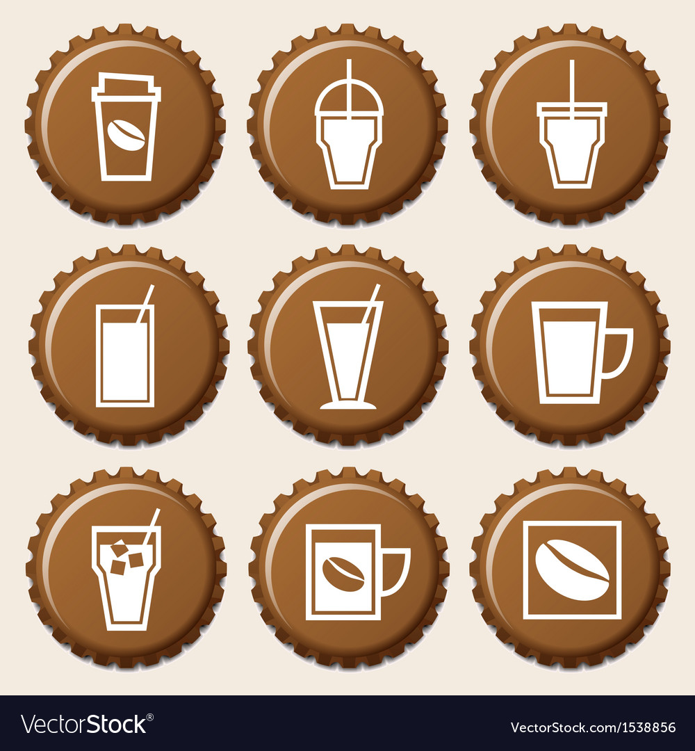 Set of coffee cup icon on bottle caps vector | Price: 1 Credit (USD $1)