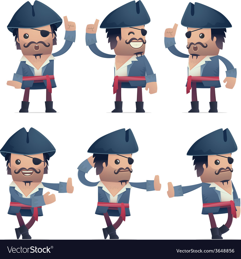 Set of pirate character in different poses vector | Price: 3 Credit (USD $3)