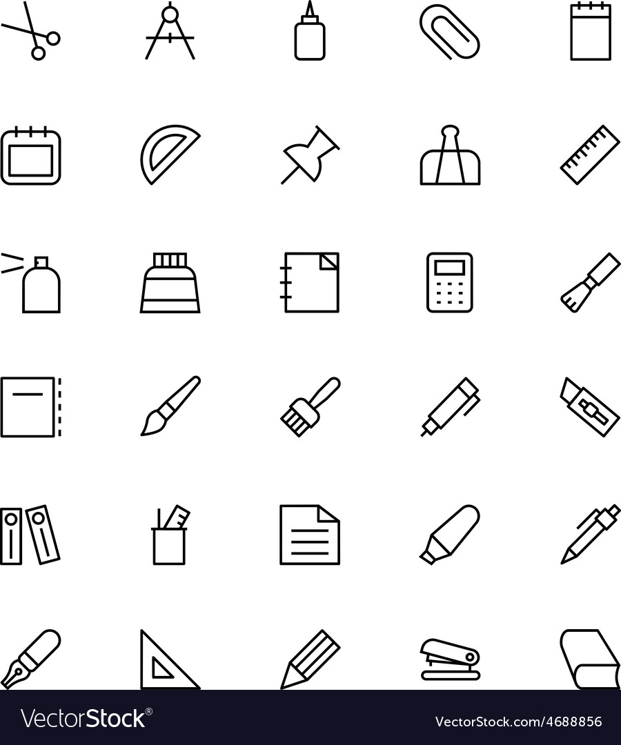 Stationery line icons 1 vector