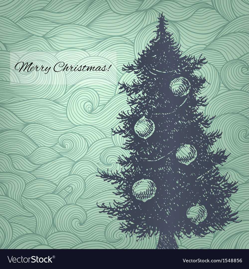 With hand drawn christmas fir tree vector | Price: 1 Credit (USD $1)