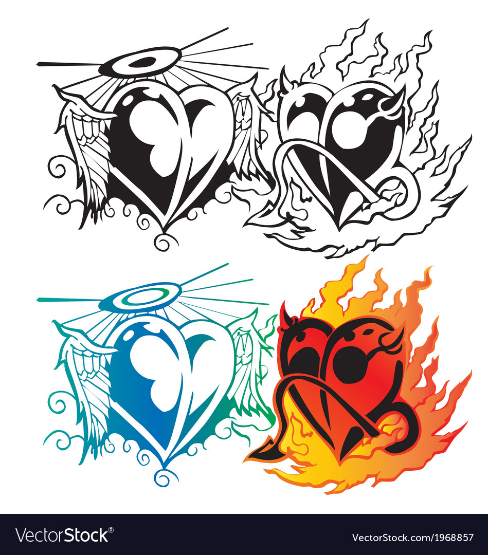Angel heart with wing and devil heart with fier t vector | Price: 1 Credit (USD $1)