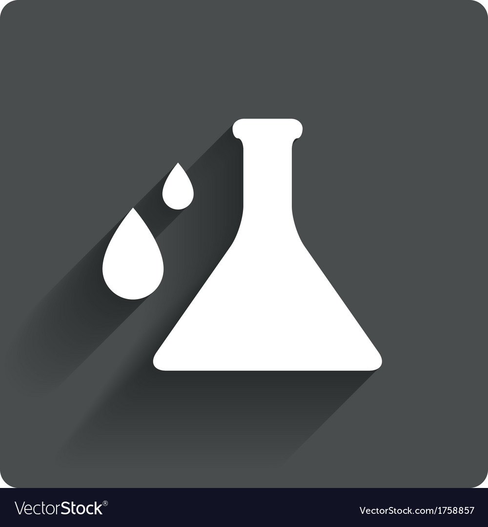 Chemistry icon laboratory glass bulb with drops vector | Price: 1 Credit (USD $1)