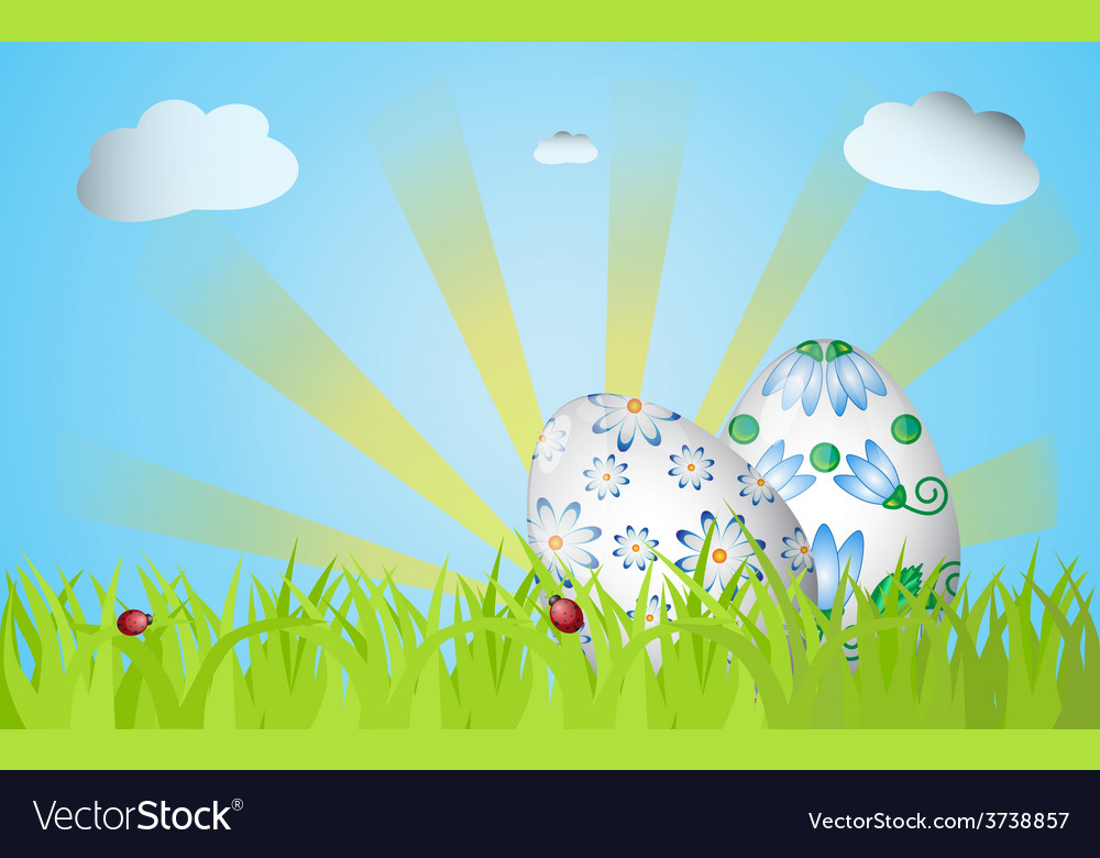 Easter design with grass sunrise two eggs vector | Price: 1 Credit (USD $1)