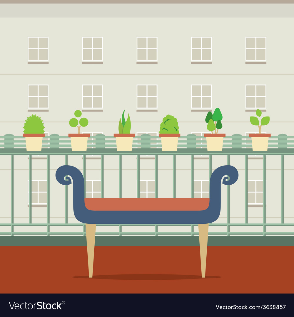 Empty bench at balcony with pot plant vector | Price: 1 Credit (USD $1)
