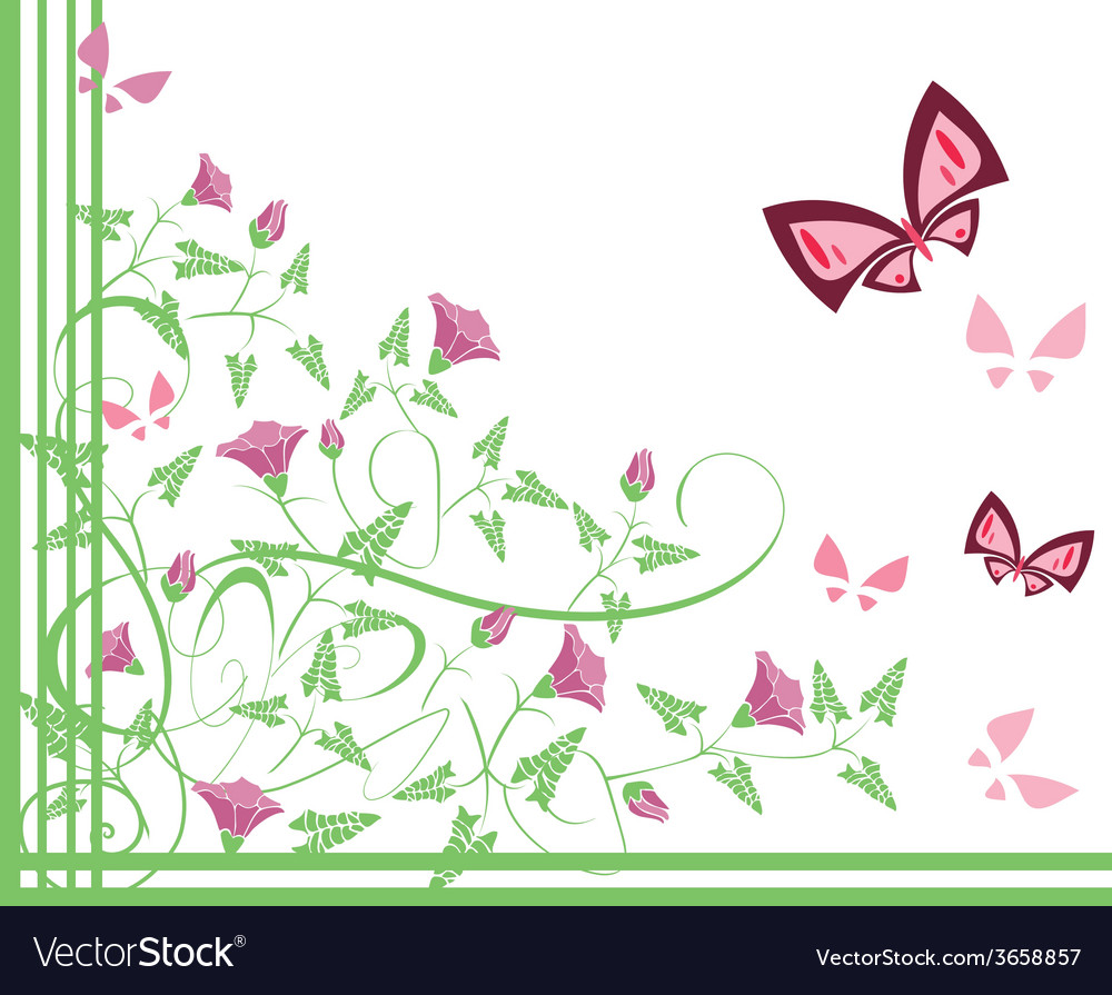 Flourishes with butterflies vector | Price: 1 Credit (USD $1)