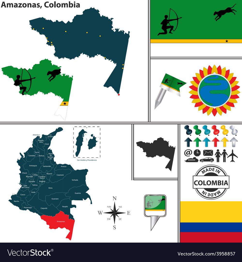 Map of amazonas vector | Price: 1 Credit (USD $1)