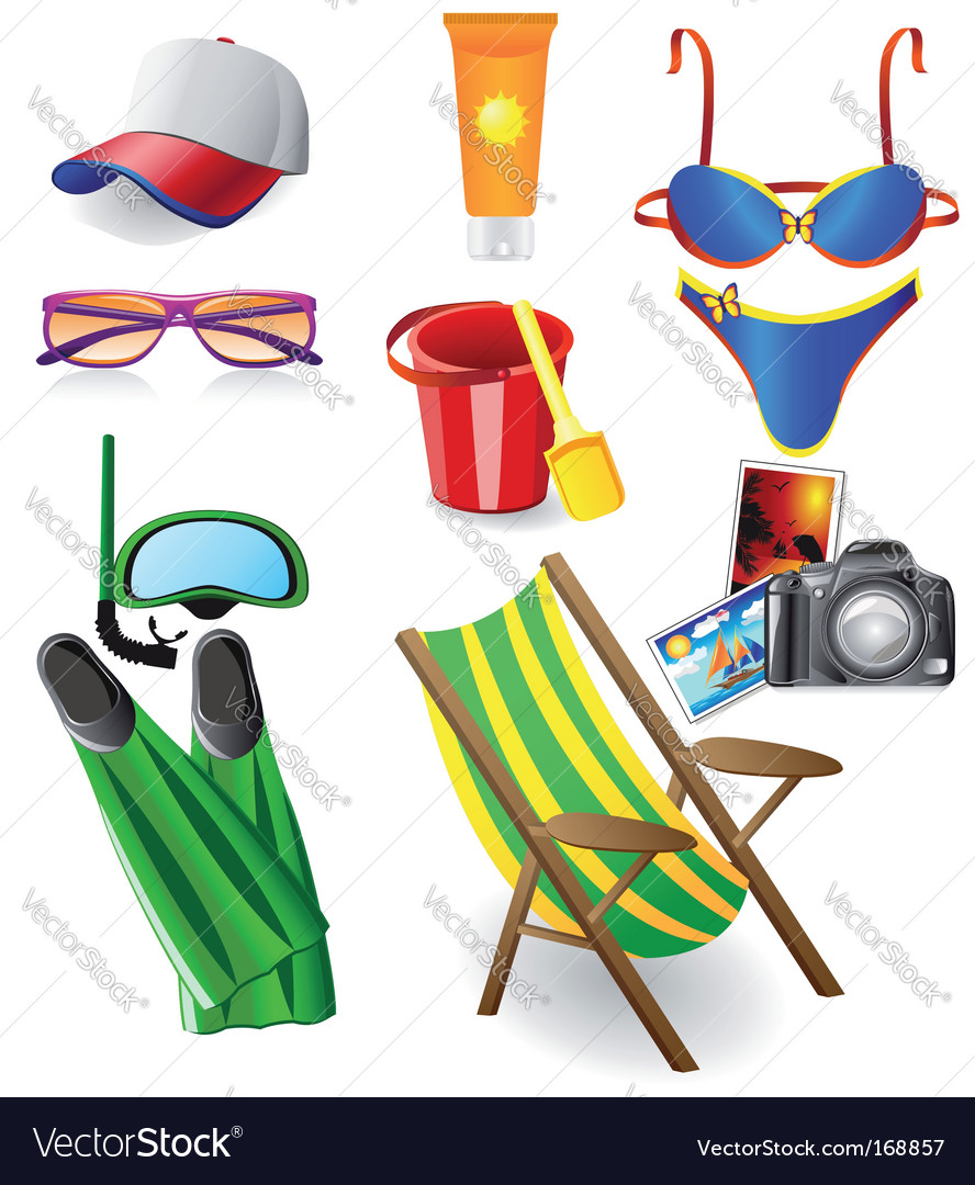 Set from beach vector | Price: 3 Credit (USD $3)
