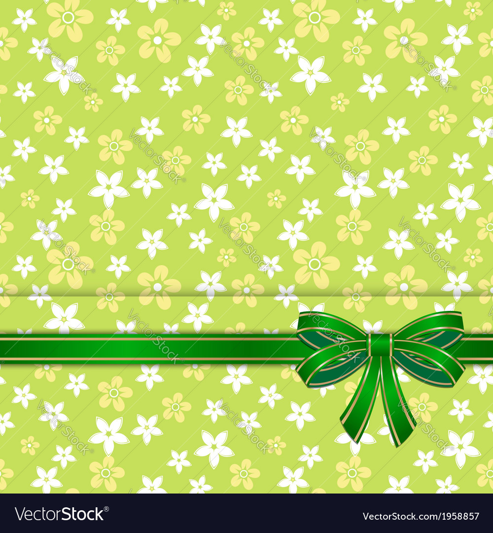 Spring card template with bow green vector | Price: 1 Credit (USD $1)