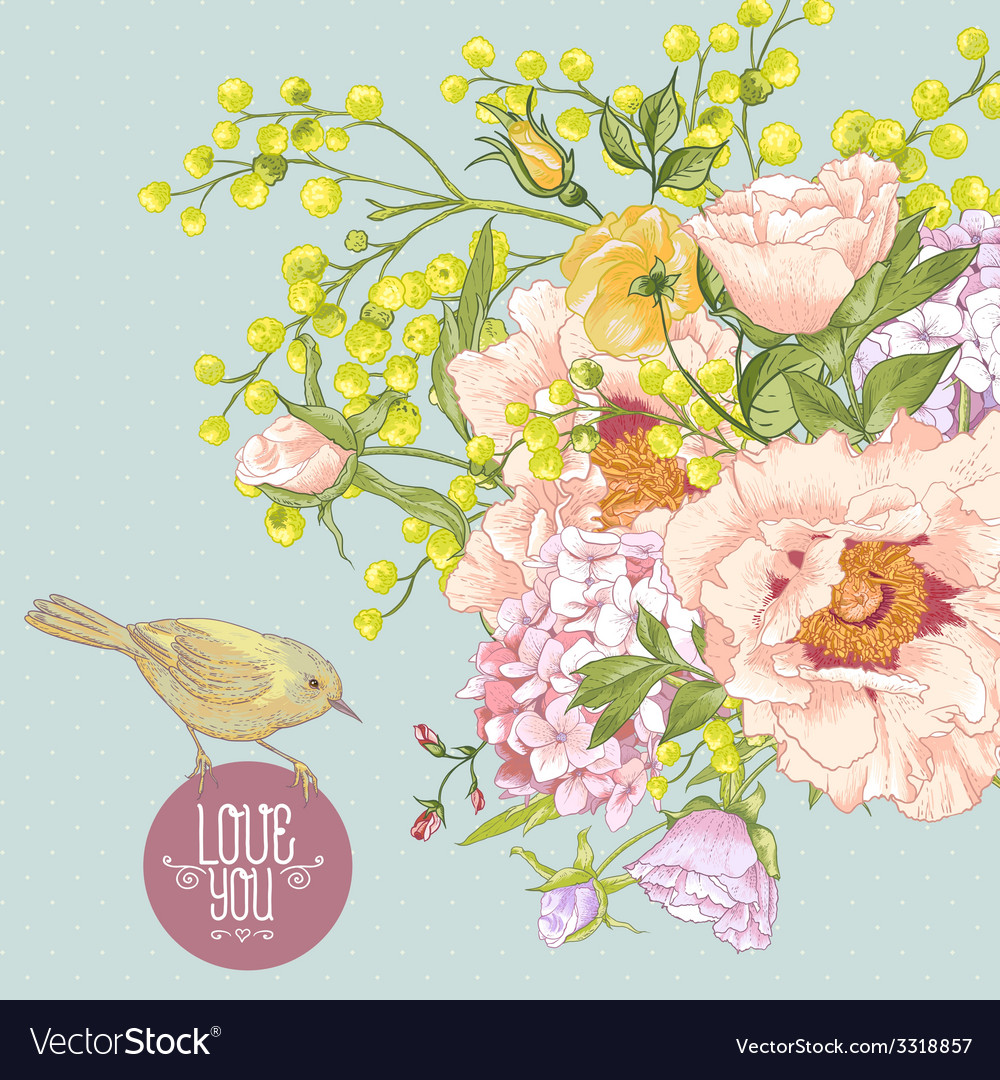 Spring floral bouquet with birds greeting card vector | Price: 1 Credit (USD $1)
