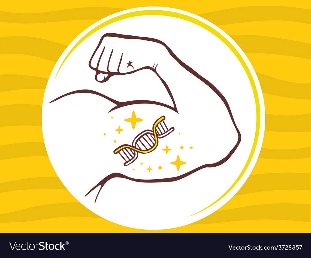 Strong man hand with icon of dna molecul vector | Price: 1 Credit (USD $1)