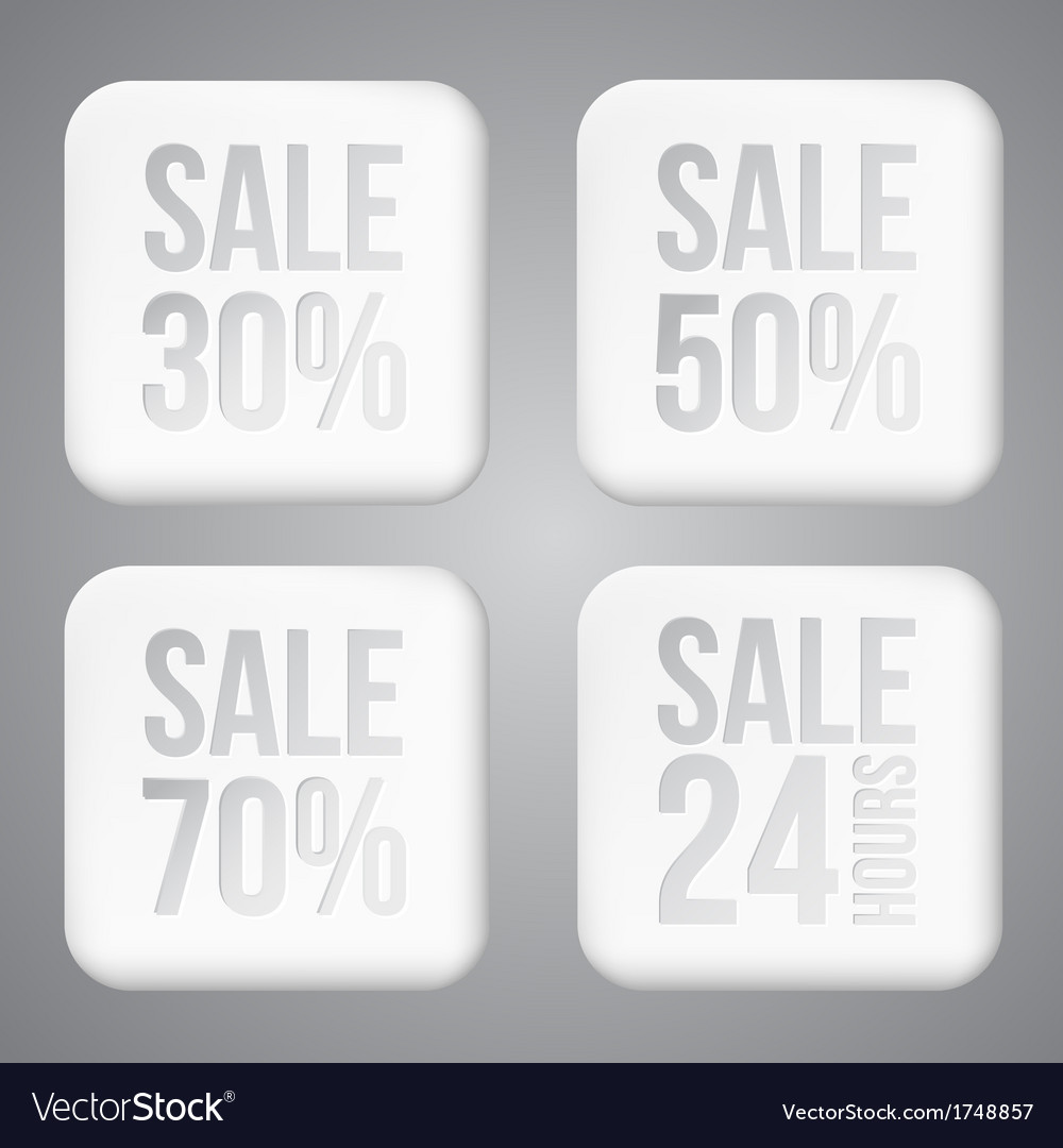 White plastic sale buttons vector | Price: 1 Credit (USD $1)
