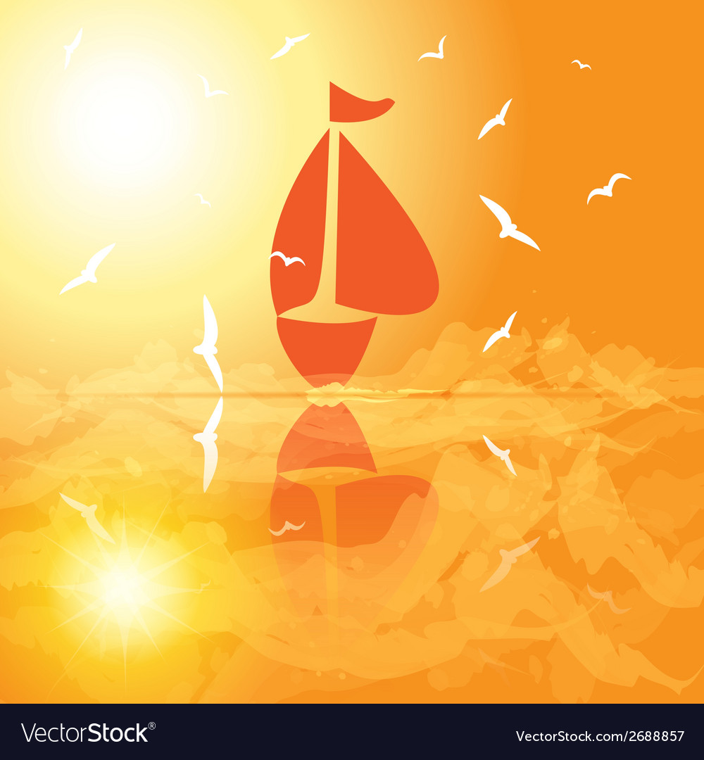 Yacht in the open sea at sunset vector | Price: 1 Credit (USD $1)