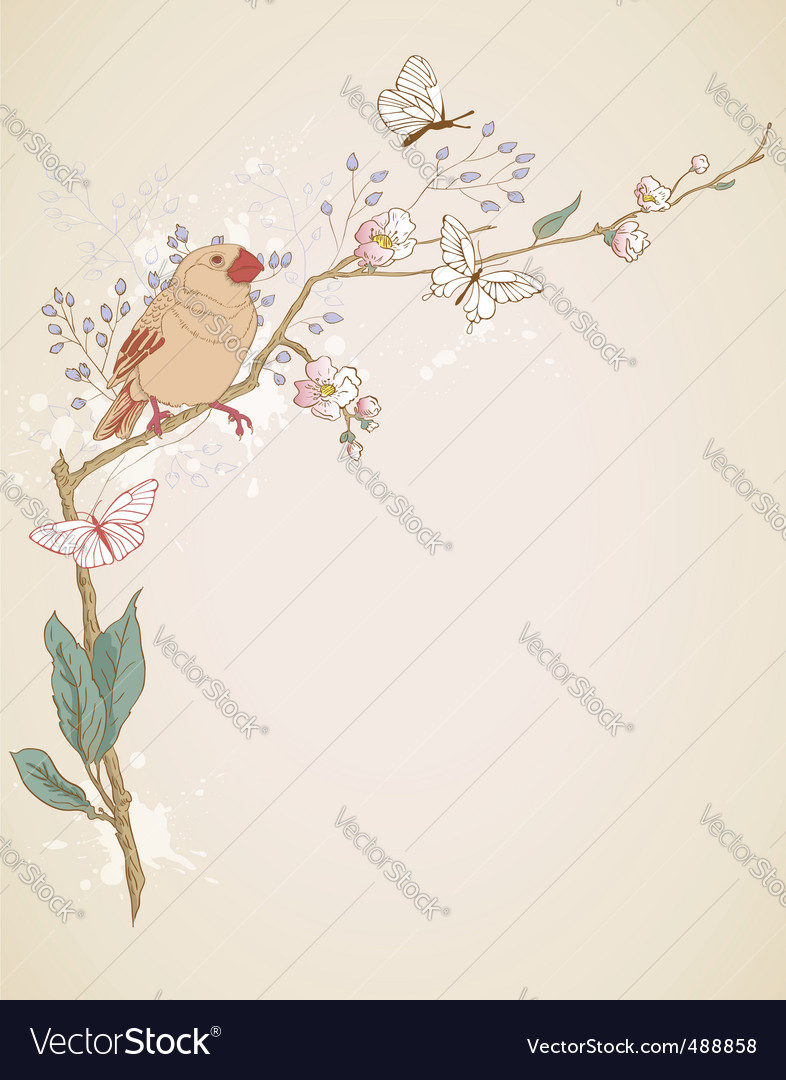 Bird sitting on a branch vector | Price: 1 Credit (USD $1)