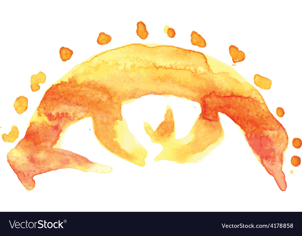 Eye sun watercolor vector | Price: 1 Credit (USD $1)