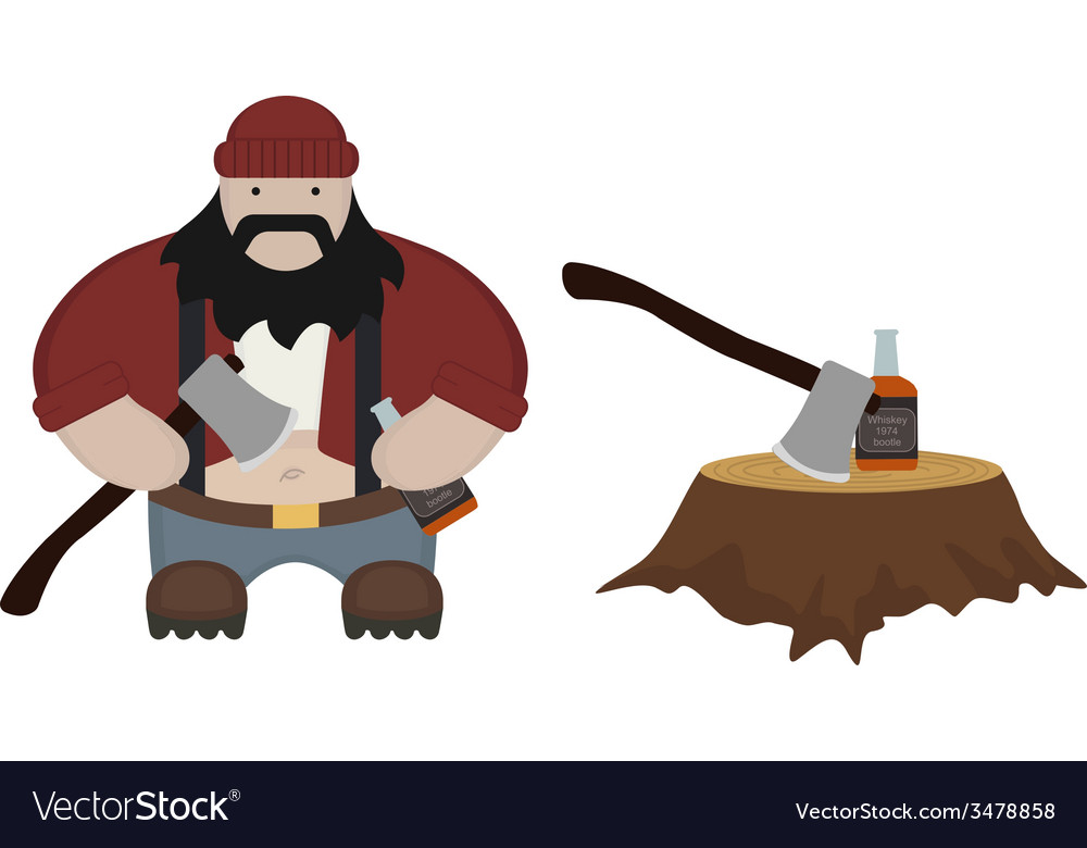 Fat lumberjack no outlines vector | Price: 1 Credit (USD $1)