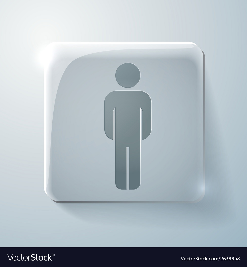 Glass square icon silhouette of a man vector | Price: 1 Credit (USD $1)