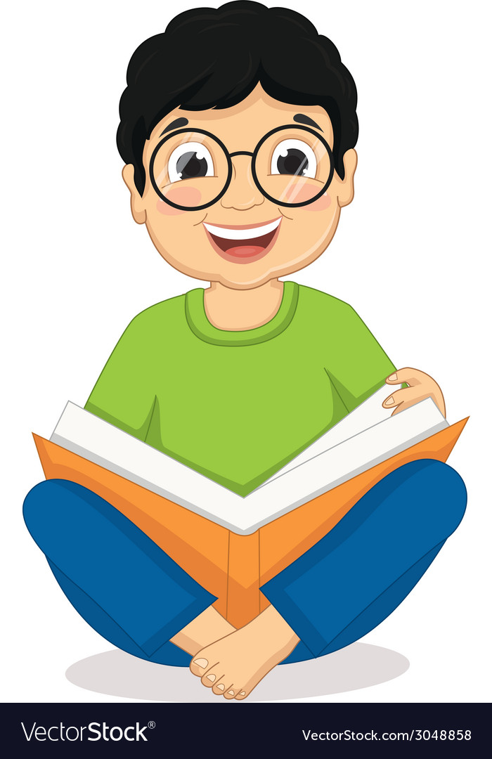 Happy boy sitting while reading bo vector | Price: 1 Credit (USD $1)